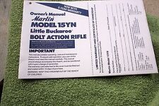 MARLIN MODEL 15YN LITTLE BUCKAROO OWNER'S  RIFLE MANUAL, 9 pages reference info