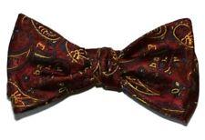 "Bow Tie Men Burgundy, Gold, Blue Paisley SELF TIE All Silk Bowtie.  2.5"" wide."