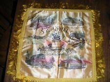 vintage souvenir pillow sham St. Louis Missouri satin fringe unused