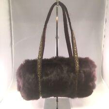 Anna Cecere Brown Rabbit Fur Beaded Evening Bag Barrel Bag