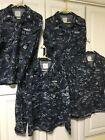 4 US NAVY DIGITAL CAMO BLUE Medium Short Shirt Blouse Ship Patches M-S