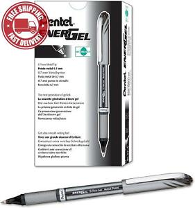 Pentel EnerGel NV Liquid Gel Pen, 0.7mm, Medium Line Capped, Metal Tip, Black In