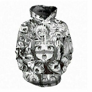 Ahegao Gesicht Hoodie Hentai Manga Herren Sweatshirt Anime 3D gedruckt Pullover@