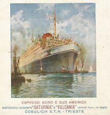 Y1040 Motonave SATURNIA - Illustrazione a colori - Pubblicità 1928 - Advertising