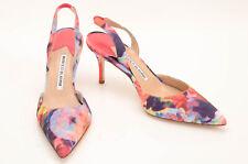 Manolo Blahnik multi L7.5 R7 tie dye print point toe slingback shoe NEW $695