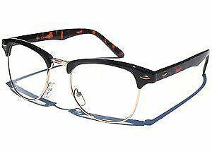 Clear Lens (non Optical) Brown & Gold Classic Retro Fashion Glasses Full UV400
