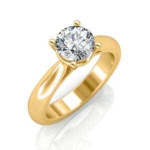 Moissanite Diamond Engagement Ring 1.00 Ct Round Cut 14K Yellow Gold Size 5 6 7