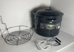 Granite Ware Steel/Porcelain Water-Bath Canner /w Rack + Tongs -21.5-Quart Black