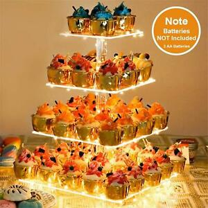 4 Tier Rectangular Acrylic Cupcake Display Stand Towers With Led String Light Us