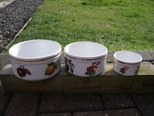 Alfred Meakin Souffle Bowls/Dishes Set ~ decorated with fruit c1960s/70s