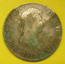 1817 Mexico Spanish Colony 8 Reales Damaged Silver Coin Take a Look