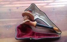"""Germany Antique Pipe 1890s Chancelor Otto Von Bismark Meerschaum Pipe 7"""" in Case"""