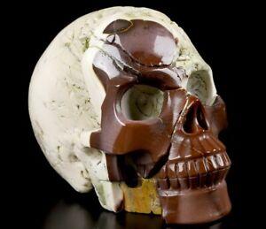"""Huge 5.1"""" MOOKAITE JASPER Carved Crystal Skull, Realistic, Crystal Healing"""