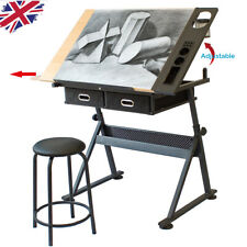 More details for adjustable drafting table art craft drawing desk with stool architect desk stand