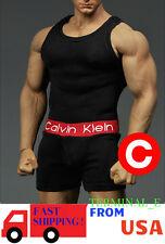 1/6 Men Tank Top Underwear Set BLACK For Phicen M34 Hot Toys Male Figure ❶USA❶