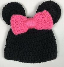 Minnie Mouse Hat Handmade Crochet Knit Baby Size 0-6 Months Pink Black Girls