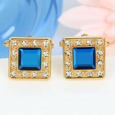 Royal Gold Square Blue Crystal Cufflinks Men's Wedding Party Shirt Cuff links