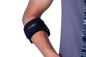 Tennis/Golf Elbow Strap with Silicone Tube, One Size (Black)