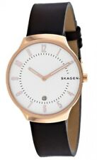 Skagen Grenen 38mm Silver Dial Rose Gold Brown Leather Men's Watch SKW6458 SD