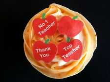 20 SMALL PRE-CUT APPLE THANK YOU TEACHER EDIBLE RICE WAFER PAPER CUP CAKE TOPPER