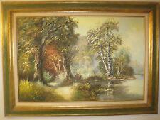 H Tirolf Framed Nature scene art work HUGE ORIGINAL FRAME