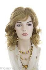 Golden Reddish Blonde Red Medium Human Hair  Monofilament Hand Tied Wavy Wigs