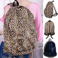 #B21 New Leopard Print Short Faux Fur Backpack Zipper Pocket Travel Womens Bag