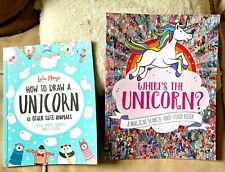 NEW : 2 books : Where's the Unicorn? & How to Draw a Unicorn  Both unused