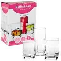 18 Pcs Drinking Glasses Cups Set Tall Highball & Short Whiskey Tumblers Gift Box