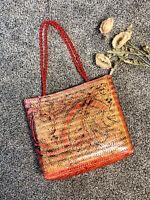 Vtg NWOT Wicker Danieli Hand Painted Handbag
