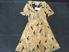NWT Foxiedox Ladies Small UK 8/10 Pale Orange Patterned Halterneck Dress RE166DR
