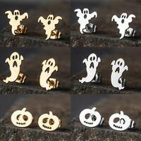 Halloween Gold Silver Pumpkin Dancing Ghost Stud Earrings Dangle Jewelry Fashion