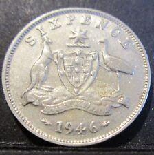 1946 Australia 6d Sixpence ** ERROR DIE CRACKS ** #X646-2