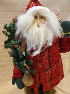 "Handmade Vintage 26"" Christmas Santa Claus Doll Statue Rabbit Teddy Bear"