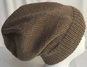 hand-knitted 100% Australian cls-wool slouchy-beanies 54-60cm head sew-ezy-aust