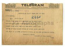 Crime Notice Telegram - Burglary - Marysville, California - 1922