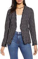 Halogen Women's Open Front Tweed Knit Jacket Coat Black Medium NWT N2803 $139