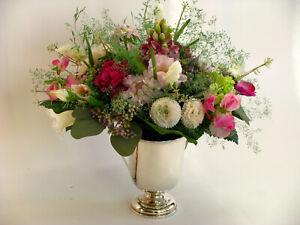 Strauß Blumen Seidenblumen Hyazinthe Glockenblume Bellis Nelke bunt