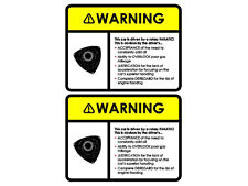 Mazda RX-8 RX8 Sun Visor Rotary Warning Decal Sticker Set