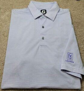 FOOTJOY-Lavender/Wht Stripe Perform.Poly, Mens SS/3B, Logo Polo/Golf Shirt-(XXL)