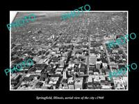 OLD LARGE HISTORIC PHOTO OF SPRINGFIELD ILLINOIS AERIAL VIEW OF THE CITY c1960