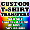 CUSTOM IRON ON T SHIRT TRANSFER PERSONALISED TEXT QUALITY PRINTS P&P