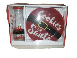 """Cookies for Santa Gift Set Holiday 8"""" Plate w/16oz Glass Bottle Christmas"""