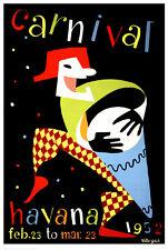 VINTAGE CUBAN ART PRINT - Carnival, Havana, 1952 Travel Conga Party 27x18 Poster