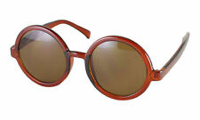 Retro PERFECT Large Round Lens BROWN Frame Sunglasses Brown Big Unisex Fashion