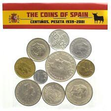 ESPANA LOT OF 10 SPANISH COINS SPAIN PESETAS PESETA CÉNTIMOS 1939-2001