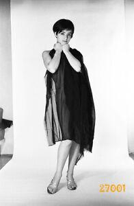 pretty short haired girl in dark veil, 1970s orig fine art negative