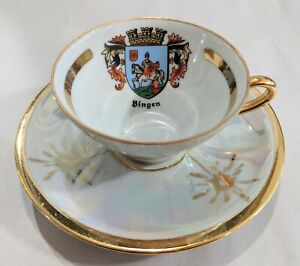 German Coat Of Arms Lusterware And Gold Bingen Souvenir Teacup And Saucer