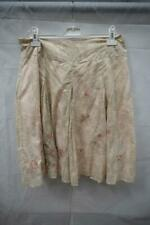 Ladies John Roche Taupe Floral A Line Pleated Mid Length Skirt UK16 SH76