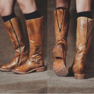 Women Flat Heel Round Toe Retro Buckle Motorcycle Mid-Calf Boot Zip Shoes Casual